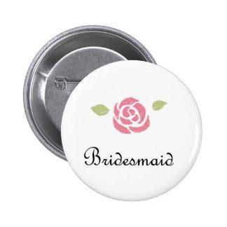 Bridesmaid Rose Pinback Button