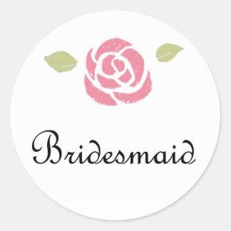 Bridesmaid Rose Classic Round Sticker