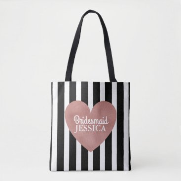Wedding Themed Bridesmaid Rose Gold Foil Heart Black White Stripe Tote Bag