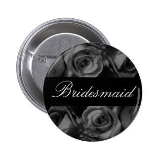 """""""Bridesmaid"""" Roses in Black and White Buttons"""