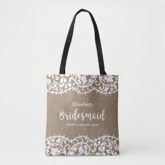Bridesmaid Rustic Lace Burlap Personalized Wedding Tote Bag