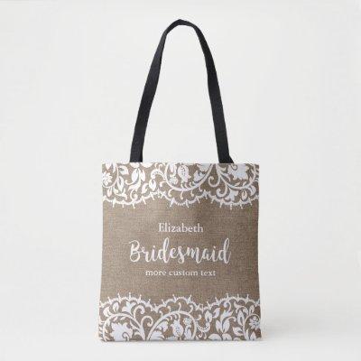 personalized bridesmaid vintage white lace wedding tote bag zazzle com