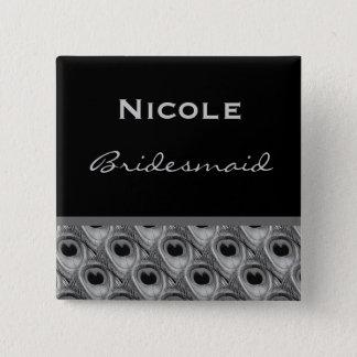 Bridesmaid Silver and Black Peacock Wedding Pinback Button