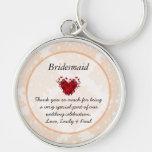 Bridesmaid Silver Peony Damask Vintage Key Chain