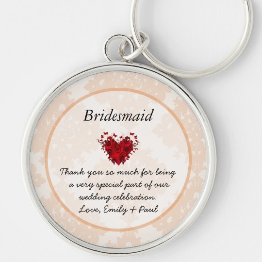 Bridesmaid Silver Peony Damask Vintage Key Chain