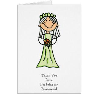 Bridesmaid Sketch, Thank You Greeting Card