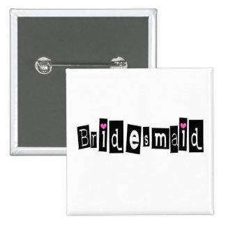 Bridesmaid (Sq Blk) 2 Inch Square Button