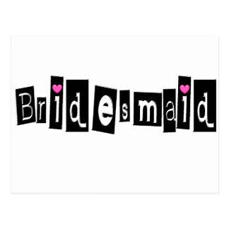 Bridesmaid (Sq Blk) Postcard