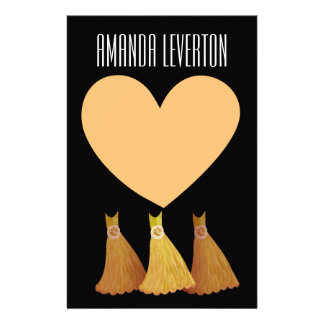 Bridesmaid Stationery  GOLD 2 Gowns and Heart