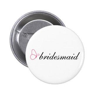 Bridesmaid Stylish Butterfly Wedding Gift Pinback Button