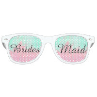 Bridesmaid Summer Pink Teal Watercolor Wedding Retro Sunglasses