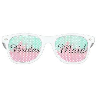 Bridesmaid Summer Pink Teal Watercolor Wedding Retro Sunglasses