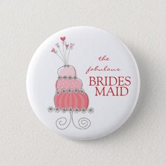 BRIDESMAID Sweet Pink Wedding Cake Name Tag Button