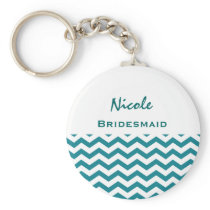 Bridesmaid Teal and White Chevrons V08 Keychain