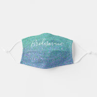 Bridesmaid Teal Blue Glitter Sparkle Cloth Face Mask
