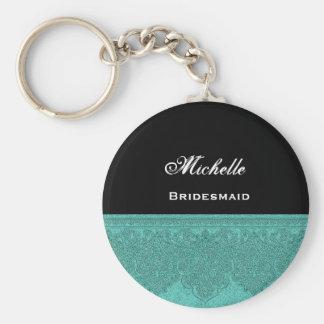 Bridesmaid Teal Damask Ribbon Keychain