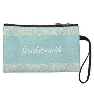 Bridesmaid Teal & Lace Vintage Wristlet