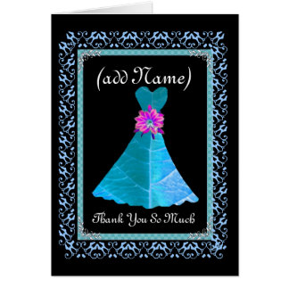 BRIDESMAID Thank You - BLUE Gown and Lace Trim Cards