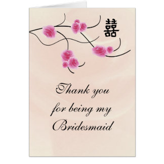 Bridesmaid Thank You Card Double Happiness Cherry