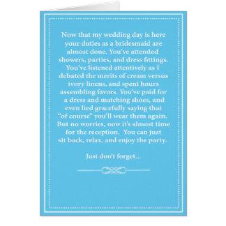 Bridesmaid Thank You Card - Funny