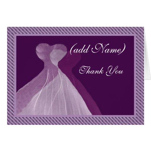 Bridesmaid Thank You - Double PURPLE Gowns Greeting Card