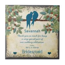 Bridesmaid Thank You Gift Love Birds Tree Tile