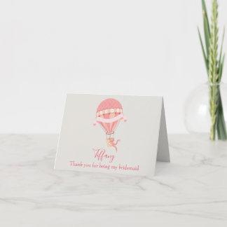 Bridesmaid Thank You Pink Hot Air Balloon