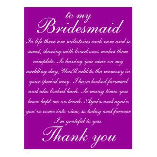 Bridesmaid Thank you Postcard