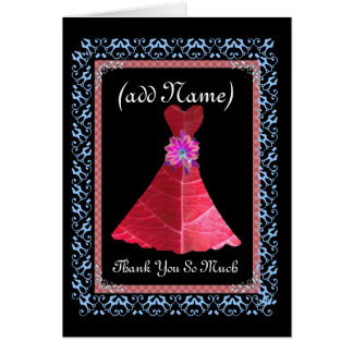 BRIDESMAID Thank You - RED Gown and Lace Trim Card