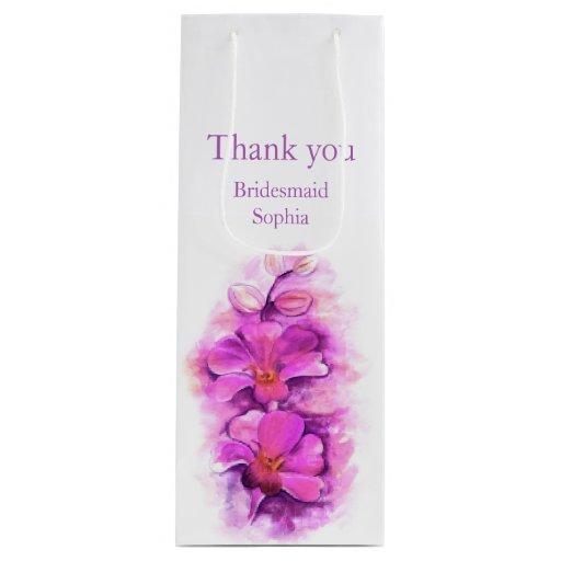 Wedding Gift Bag Thank You : Bridesmaid thank you wedding favor wine gift bag Zazzle