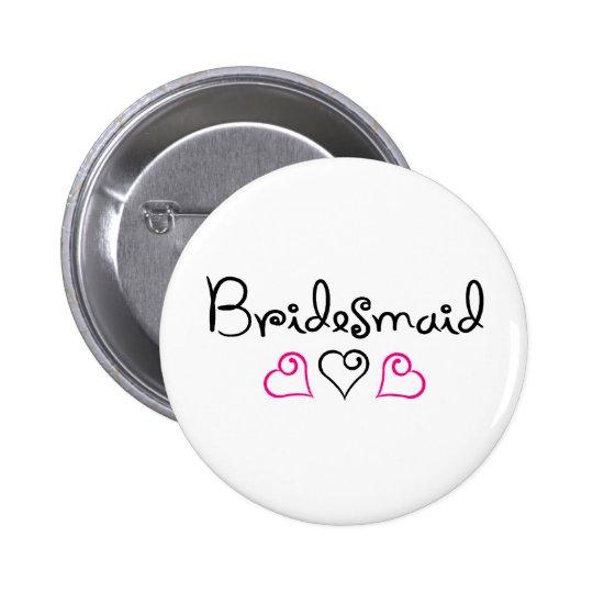 Bridesmaid Three Hearts Button