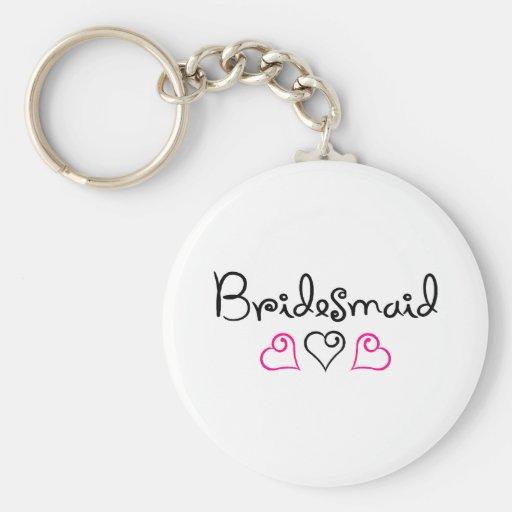 Bridesmaid Three Hearts Key Chain