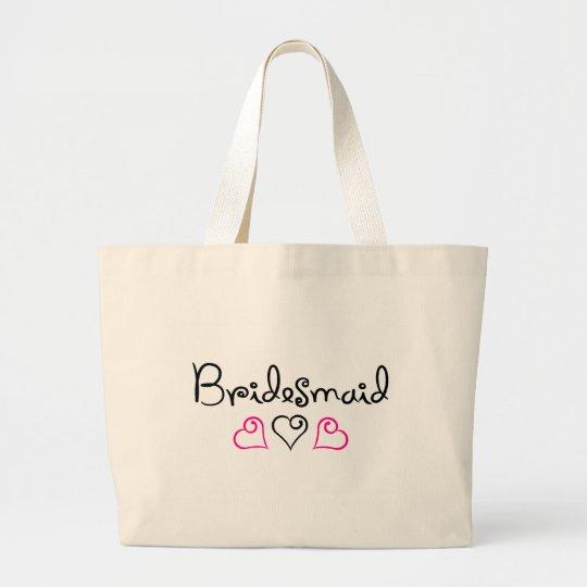 Bridesmaid Three Hearts Large Tote Bag
