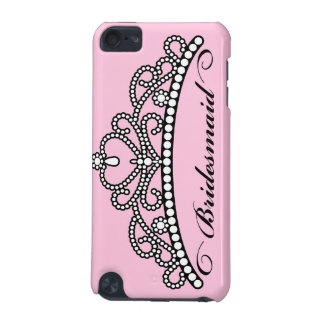 Bridesmaid Tiara iPod Touch Case (pink background)
