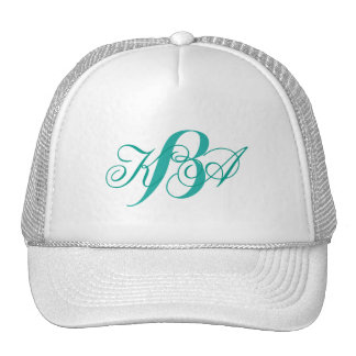 bridesmaid  turquoise  green ombre monograms trucker hat