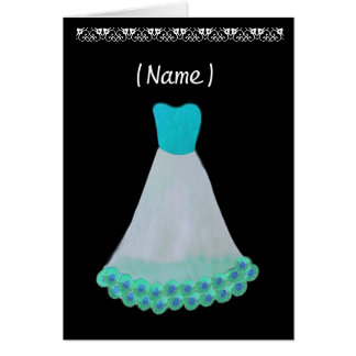 Bridesmaid TURQUOISE & WHITE Gown & Flowered Trim Card