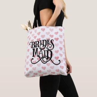 Bridesmaid Typography Watercolor Heart Pattern Tote Bag
