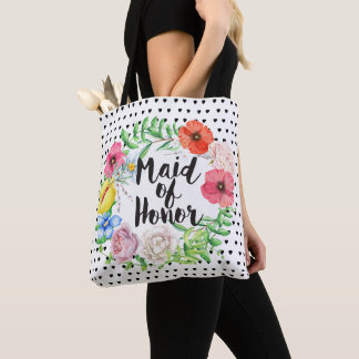 Bridesmaid Typography Watercolor Rose Wreath Tote Bag