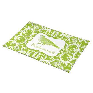 Bridesmaid Vintage Bird Apple Green Damask Cloth Placemat
