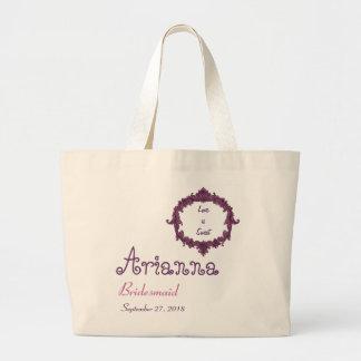 Bridesmaid Vintage Frame Purple Pink Large Tote Bag