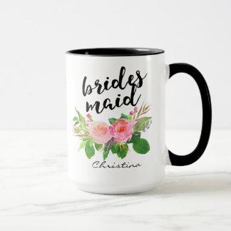 Bridesmaid Watercolor Floral Personalized Mug