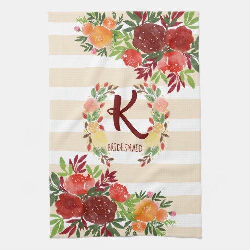 Bridesmaid Watercolor Wedding Rose Wreath Monogram Hand Towel