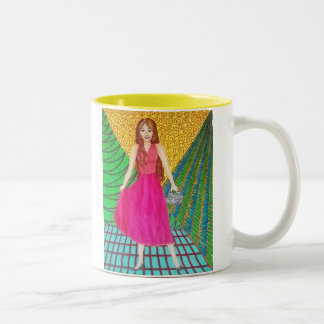 Bridesmaid Wearing A Pink Gown Two-Tone Coffee Mug