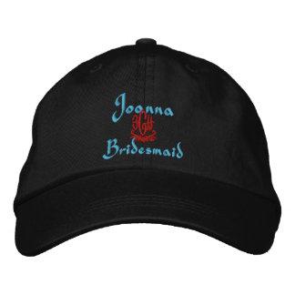 Bridesmaid Wedding Black Embroidered Hat