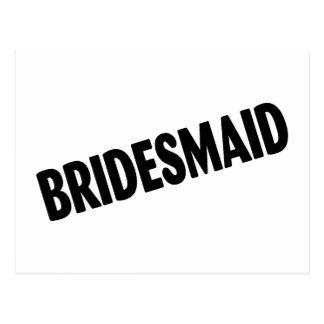 Bridesmaid Wedding Black Postcard