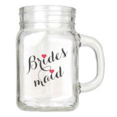 Bridesmaid Wedding Bridal Shower Elegant Script Mason Jar at Zazzle
