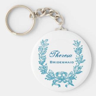 Bridesmaid Wedding Favor Aqua Horse Shoe B040 Keychain