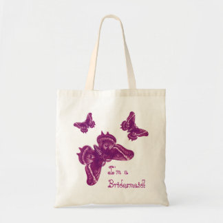 Bridesmaid Wedding Favor Bag - Magenta Butterflies