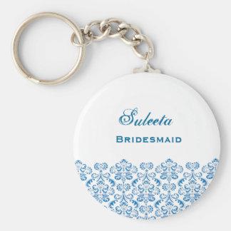 Bridesmaid Wedding Favor Blue Damask Lace B039 Keychain
