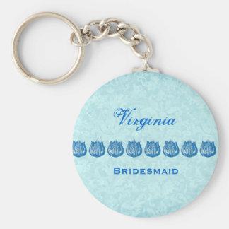 Bridesmaid Wedding Favor Blue Tulips B041 Keychain